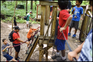 campers playing on the low ropes